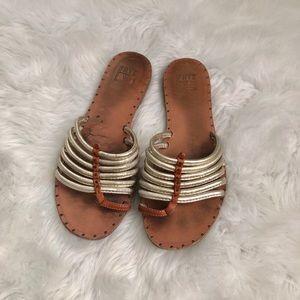 Frye Tan & Gold Slide On Sandals